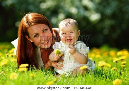 Happy mother and daughter