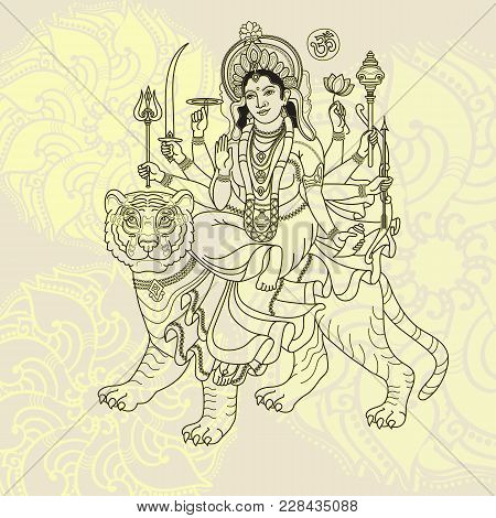 Hindu Goddess. Hand Drawn Vector Illustration. Goddess Durga Sitting On The Tiger For Navratri India