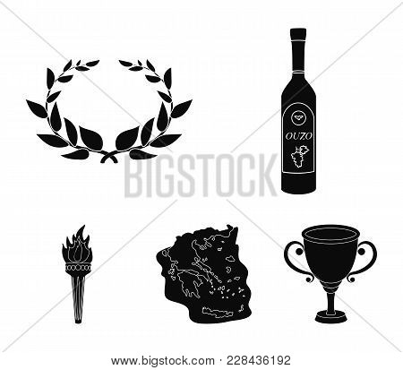 Greece, Country, Tradition, Landmark .greece Set Collection Icons In Black Style Vector Symbol Stock
