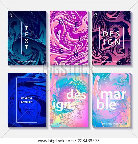 Marble Template Set Of 6 Creative Design Posters, Artistic Covers. Modern Marble Colorful Textures.