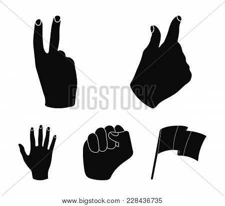 Open Fist, Victory, Miser. Hand Gesture Set Collection Icons In Black Style Vector Symbol Stock Illu