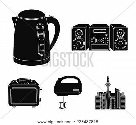 Electric Kettle, Music Center, Mixer, Toaster.household Set Collection Icons In Black Style Vector S