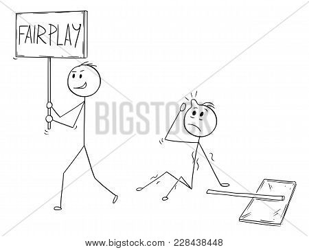 Cartoon Stick Man Drawing Conceptual Illustration Of Businessman Demonstrator Or Protester Walking W