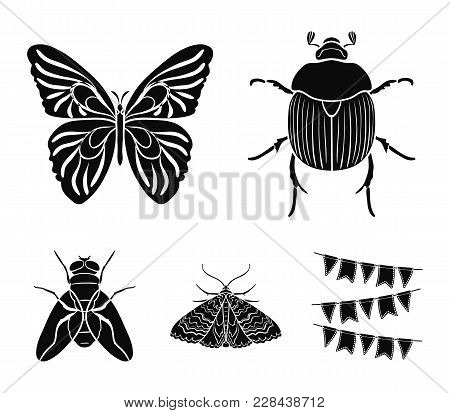 Wrecker, Parasite, Nature, Butterfly .insects Set Collection Icons In Black Style Vector Symbol Stoc