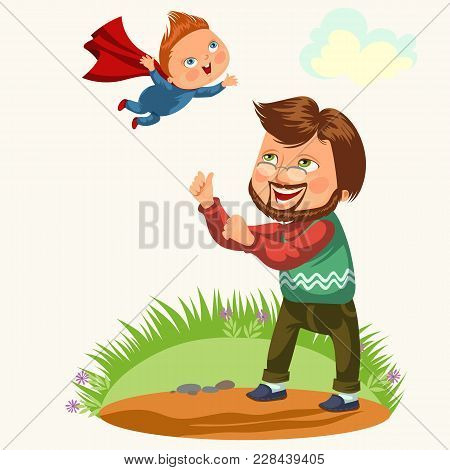 Summertime, Happy Joyful Child, Dad Fun Throws Up Son In The Air, Weekend Summer Family Activity Vec