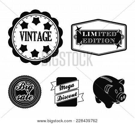 Limited Edition, Vintage, Mega Discont, Dig Sale.label, Set Collection Icons In Black Style Vector S