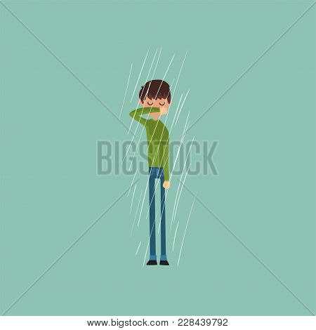 Sneezing Boy Freezing Over Autumn Rain Vector Illustration, Flat Style