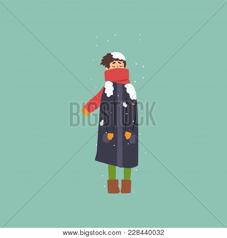 Boy In Warm Coat And Scarf Freezing And Shivering On Winter Cold Vector Illustration, Flat Style