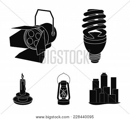 Economy Lamp, Searchlight, Kerosene Lamp, Candle.light Source Set Collection Icons In Black Style Ve