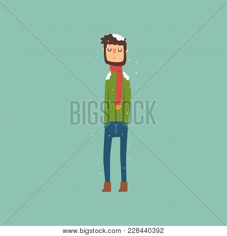 Yong Man Freezing In Winter Cold Wearing Woolen Sweater With Scarf Vector Illustration, Flat Style