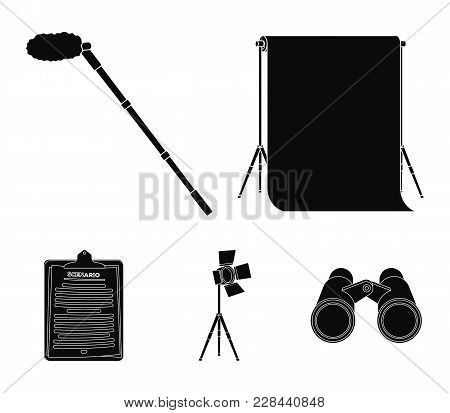 Hromakey, Script And Other Equipment. Making Movies Set Collection Icons In Black Style Vector Symbo
