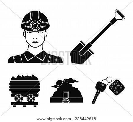 A Shovel, A Miner, An Entrance To A Mine, A Trolley With Coal.mine Set Collection Icons In Black Sty