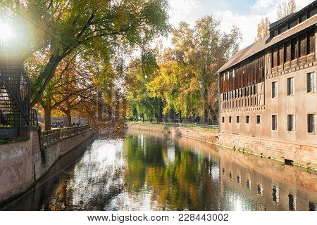 Petit France Medieval District Of Strasbourg With Fall Sunshine, France