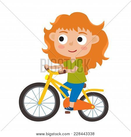 Cartoon Red-haired Girl Riding A Bike Having Fun Riding Bicycles Isolated On White. Happy Kid Having