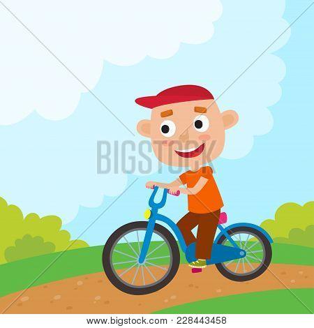 Cartoon Boy Riding A Bike Having Fun Riding Bicycles In Park. Happy Kid Having Fun On Weekend. Summe