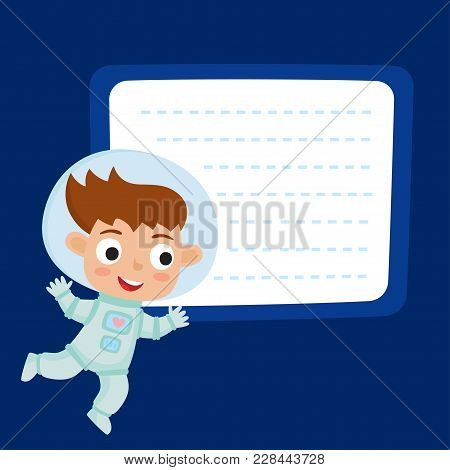 Cute Little Girl Astronaut With A Blank Poster For Your Text Entry Isolated On Blue Space. Ready For