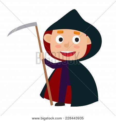 Vector Set Of Cute Cartoon Kid In Colorful Halloween Costume: Death. Cartoon Character Design Of Boy