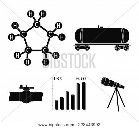 Railway Tank, Chemical Formula, Oil Price Chart, Pipeline Valve. Oil Set Collection Icons In Black S