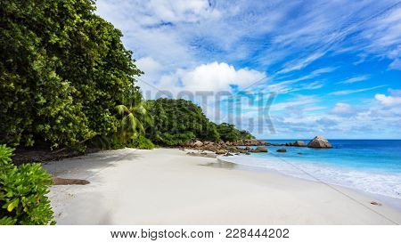 Paradise Beach.white Sand,turquoise Water,palm Trees At Tropical Beach,seychelles 23