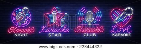 Karaoke Set Of Neon Signs. Collection Is A Light Logo, A Symbol, A Light Banner. Advertising Bright