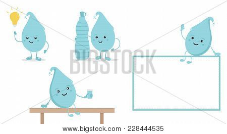 Set, Collection Of Cartoon Doodle Water Characters With Bottle And Glass Of Water, Promoting The Ide