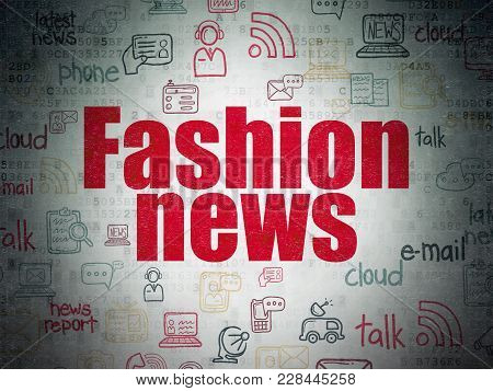 News Concept: Painted Red Text Fashion News On Digital Data Paper Background With   Hand Drawn News