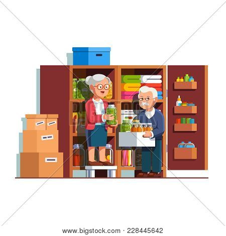 Retired Senior Family Couple People Working Together Putting Food Preserves, Pickle Jars, Bottles On