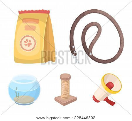 Leash, Feed And Other Zoo Store Products.pet Shop Set Collection Icons In Cartoon Style Vector Symbo