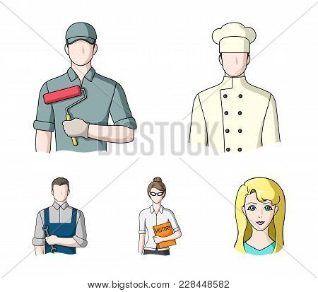 Cook, Painter, Teacher, Locksmith Mechanic.profession Set Collection Icons In Cartoon Style Vector S