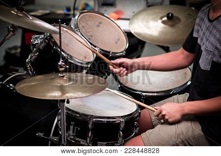 Drummer In The Studio, Music And Instrument Concept