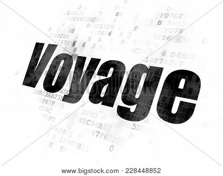 Travel Concept: Pixelated Black Text Voyage On Digital Background