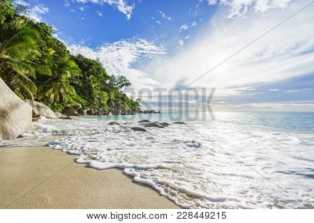 Paradise Tropical Beach With Rocks,palm Trees And Turquoise Water In Sunshine, Seychelles 14
