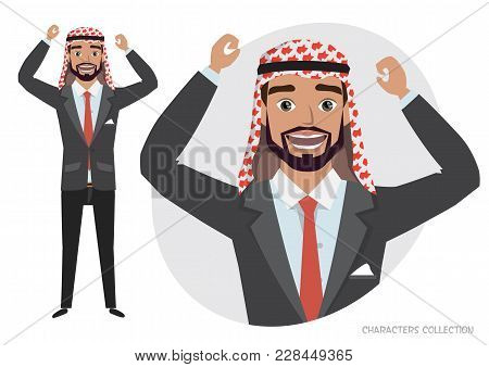 Arab Man Character Is Happy And Smiling. Cartoon Style Man. Emotion Of Joy And Glee On The Man Face.