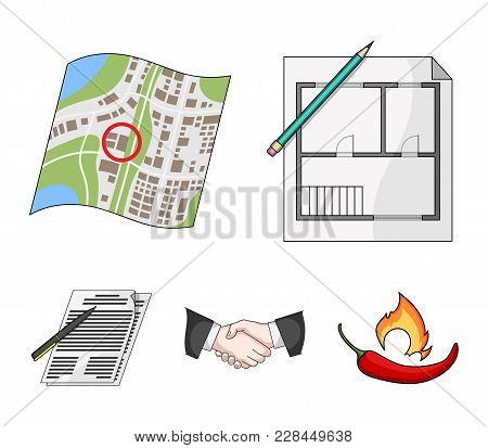 House Plan, Documents For Signing, Handshake, Terrain Plan. Realtor Set Collection Icons In Cartoon