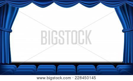 Auditorium With Seating Vector. Blue Curtain. Theater, Cinema Screen And Seats. Stage And Chairs. Bl