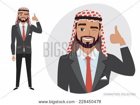 Positive Arab Man Character Smiling And Recommended. Happy Man In Business Suit. Laughing Man Showin