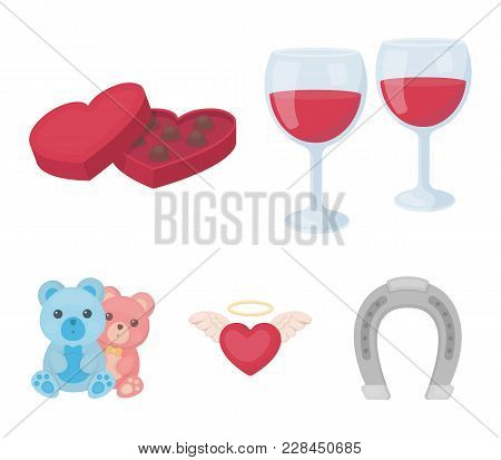 Glasses With Wine, Chocolate Hearts, Bears, Valentine.romantik Set Collection Icons In Cartoon Style
