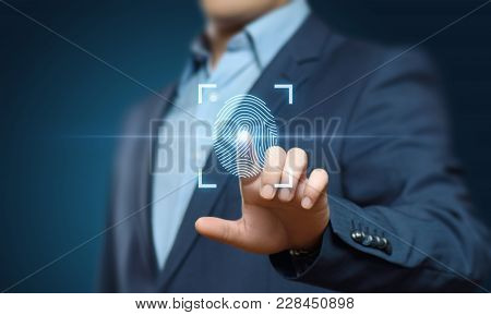 Fingerprint Scan Provides Security Access With Biometrics Identification. Business Technology Safety