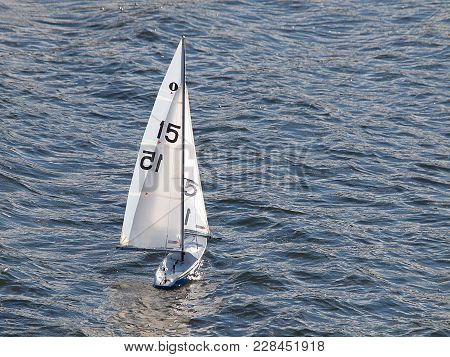 Sailboat From The Forfar Lake. Forfar, Scotland - January 31, 2018 Radio-controlled Model Of A Sailb