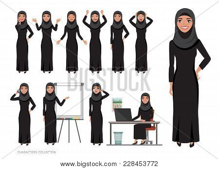 Arab Women Character Is Happy And Smiling. Cartoon Style Women With Hijab. Emotion Of Joy And Glee O