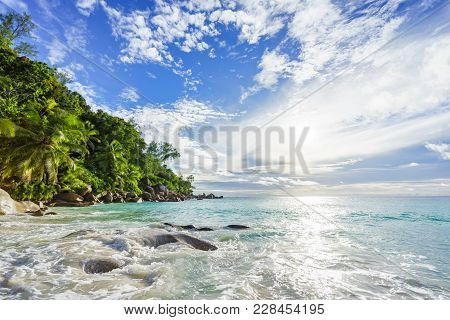 Paradise Tropical Beach With Rocks,palm Trees And Turquoise Water In Sunshine, Seychelles 28