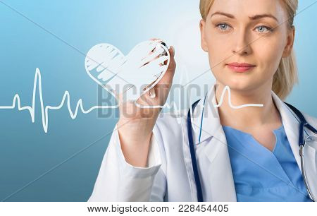 Female Doctor Stethoscope Doc Color White Background