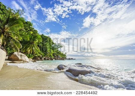 Paradise Tropical Beach With Rocks,palm Trees And Turquoise Water In Sunshine, Seychelles 29