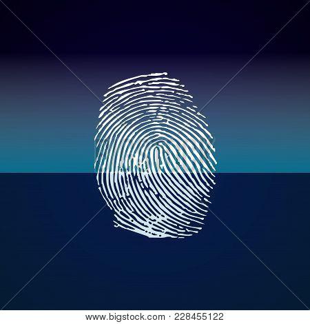 Finger Print Scanning On Blue Background. Vector
