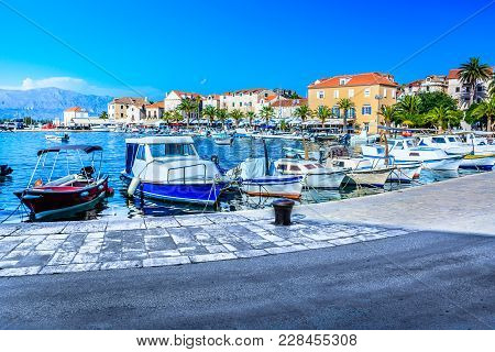 Scenic View At Mediterranean Promenade In Coastal Town Supetar, Northern Side Of Island Brac, Touris