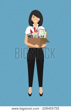 Office Worker With A Box Of Stationery In The Hands. Smiling Young Woman Holding Office Supplies. Co