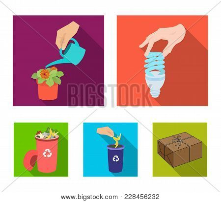 Energy-saving Light Bulb, Watering A Houseplant And Other  Icon In Flat Style. Garbage Can With Wast