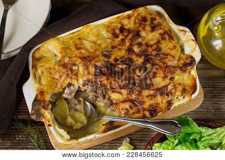 Oven Dish Potato Gratin Casserole With Minced Beef And Bechamel Sauce