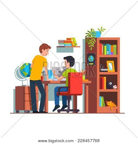 Two Student Friends Studying Doing Homework Together At Home Kid Room. Teen Boy Sitting At Desk, Rea