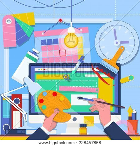 Web Design And Freelance Concept Illustration.web Development. Website Design Gui User Interface Wir